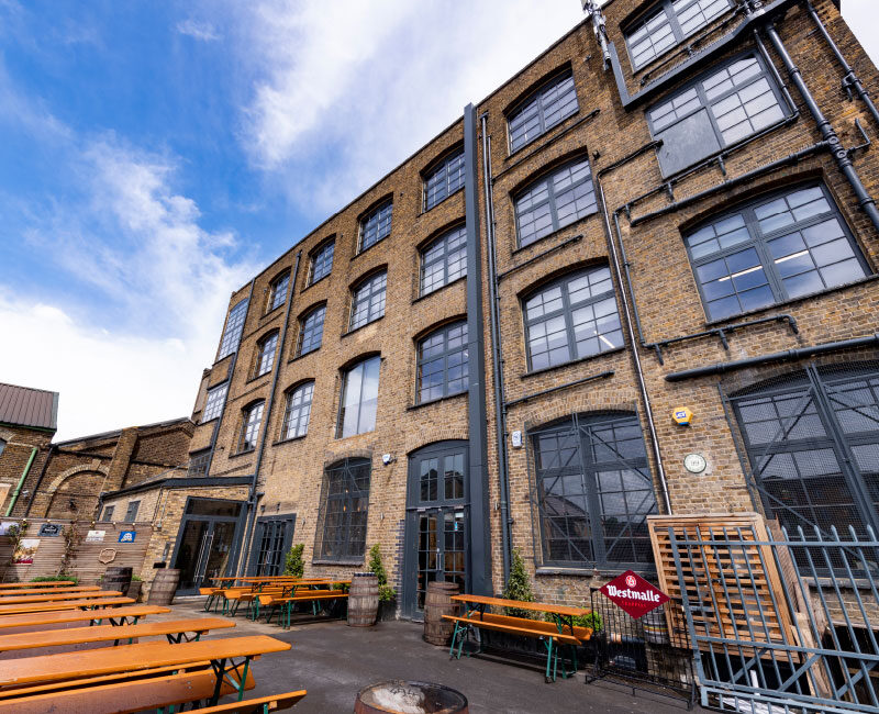 View of Hackney Wick Warehouse Exterior and Outside Bar Area