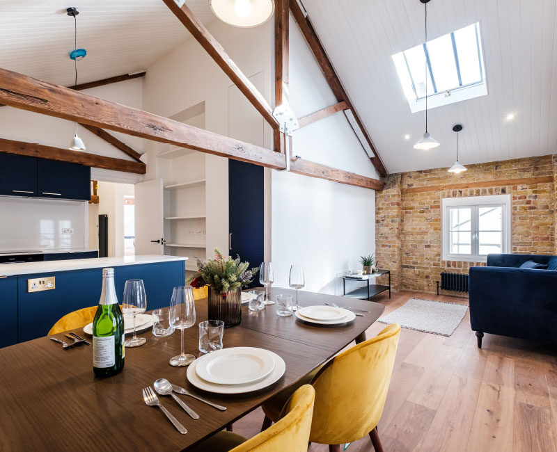 The Old Granary Show Flat Dining Area and Living Space